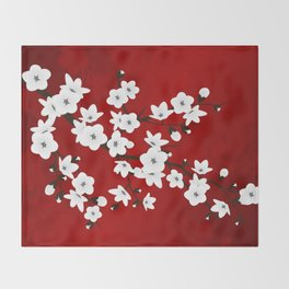 Red Black And White Cherry Blossoms Throw Blanket