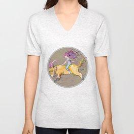 Girl and Goat Unisex V-Neck