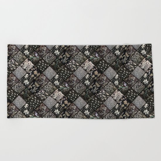 Faux Patchwork Quilting - Black Beach Towel
