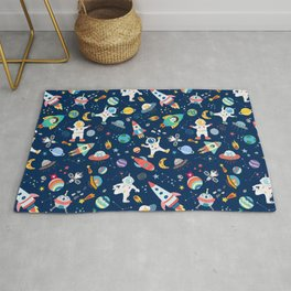 Outer Space Astronauts Aliens Pattern Blue Rug