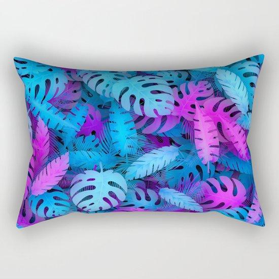 Blue pink tropical leaves Rectangular Pillow