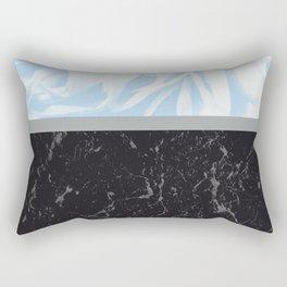 Light Blue Flower Meets Gray Black Marble #3 #decor #art #society6 Rectangular Pillow