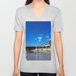 San Diego Beach Boardwalk/Crystal Pier Unisex V-Neck