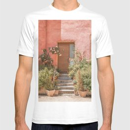 Pink House Front Door In France Photo | Europe Summer Travel Photography | Greens And Roses Art Print T-shirt