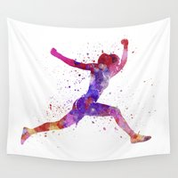 runner Wall Tapestries featuring Woman runner running jumping shouting by Paulrommer
