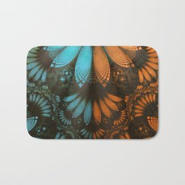 Shikoba Fractal -- Beautiful Leather, Feathers, and Turquoise Bath Mat