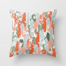 Floral Cactus Throw Pillow