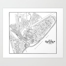 Vintage Capitola California Map Art Print