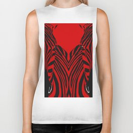 Art print: Red zebra pop art Biker Tank