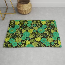 Lime, Jade, Emerald, And Forest Green Floral Pattern Rug