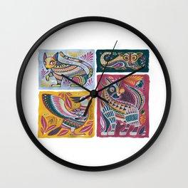 Alebrijes Animals - Natural Tint Wall Clock
