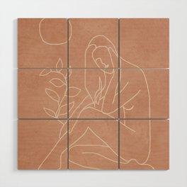 Engraved Nude Line I Wood Wall Art