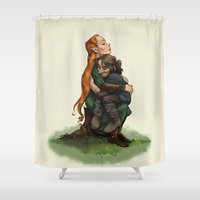 kili Shower Curtains featuring Kiliel: Tauriel and Kili from the Hobbit on a Tree Stump by Liv Moy
