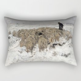 Flock of sheep with shepherd in the snow by Anton Mauve Rectangular Pillow
