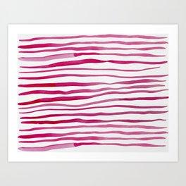 Irregular watercolor lines - pink Art Print