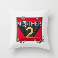 earthbound Throw Pillows featuring Alternative Mother 2 / Earthbound Title Screen by Studio Momo╰༼ ಠ益ಠ ༽