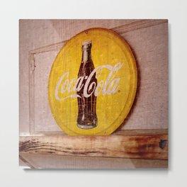 Coke Square Metal Print