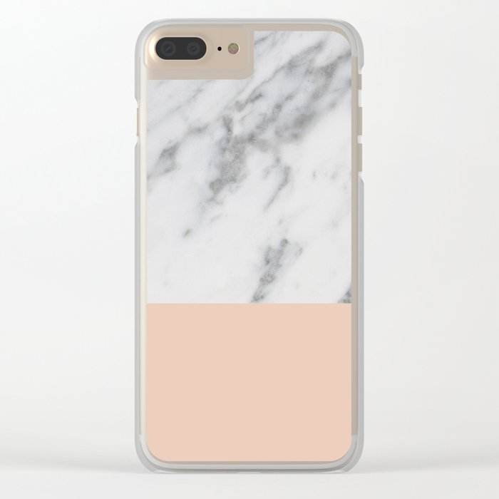 Marble and Blush Pink Clear iPhone Case