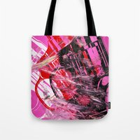 guns Tote Bags featuring Guns Guns Guns by Botch Skateboarding