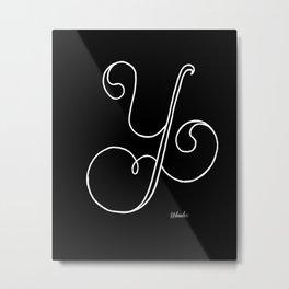Y- Letter Collection Black Metal Print