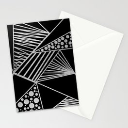 Modern geometrical black faux silver blush chic pattern Stationery Cards