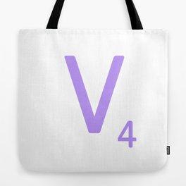 Scrabble Monogram Purple V Tote Bag