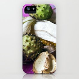 Atumnal Still Life with Chestnut and Corn iPhone Case