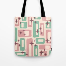 Retro Mid Century Modern Abstract Pattern 222 Dusty Rose and Pastel Green Tote Bag