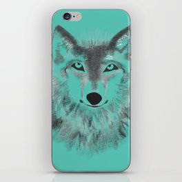 Wolf Face - Turquoise iPhone Skin
