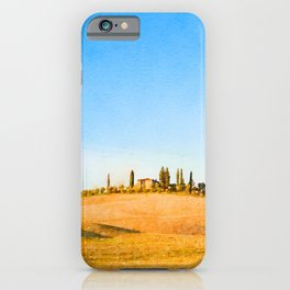 Tuscany landscape watercolor painting iPhone Case
