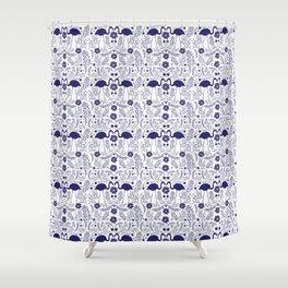 Flamingo Folk art - Blue Shower Curtain