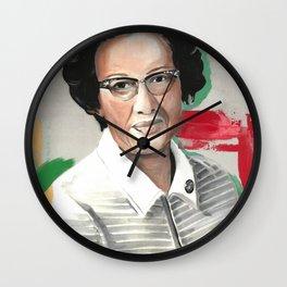 Katherine Johnson Drawings Feminist Icon Portrait Wall Clock