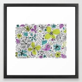 Doddle flowers Framed Art Print