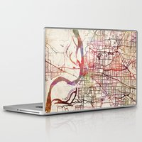 memphis Laptop & iPad Skins featuring Memphis by MapMapMaps.Watercolors