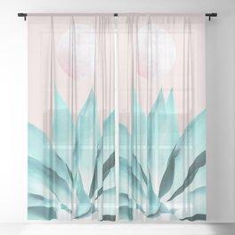 Stellar Agave and Full Moon - pastel aqua and pink Sheer Curtain