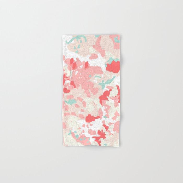 Kelsie - cute abstract minimal pink blush painterly dorm college office trendy decor Hand & Bath Towel
