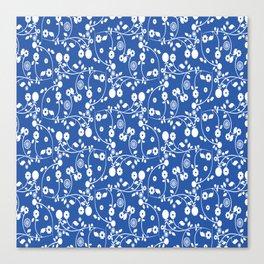 Sapphire Blue Floral Pattern Canvas Print