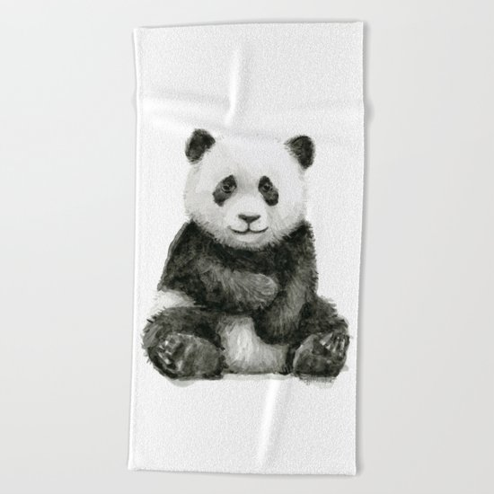 Panda Baby Watercolor Animal Art Beach Towel