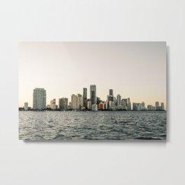 Miami Skyline at Sunset Metal Print