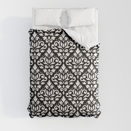Scroll Damask Pattern White on Black Comforters