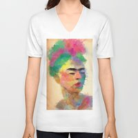 frida kahlo V-neck T-shirts featuring frida kahlo by vale agapi