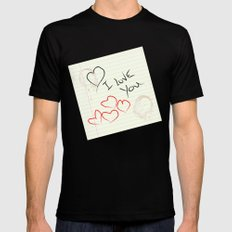I love you doodle Mens Fitted Tee MEDIUM Black