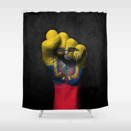 Ecuadorian Flag on a Raised Clenched Fist Shower Curtain