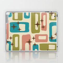 Retro Mid Century Modern Abstract Pattern 623 Olive Blue and Dusty Rose Laptop & iPad Skin