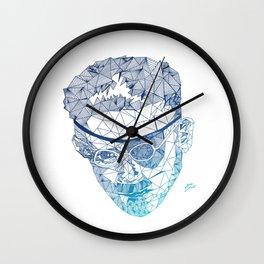 James Joyce - Hand-drawn Geometric Art Print - Blue Gradient Wall Clock