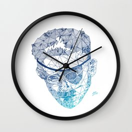 James Joyce - Hand-drawn Geometric Art Print - Blue Gradient Wall Clock