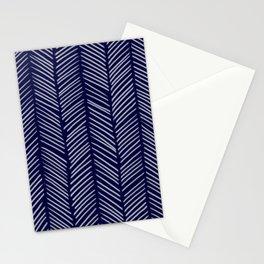 Indigo Herringbone Stationery Cards