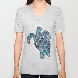 Sea Turtle Blue Watercolor Art Unisex V-Neck