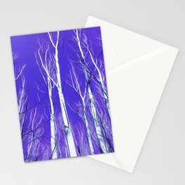 White Trees Intense Blue Sky In February Stationery Cards