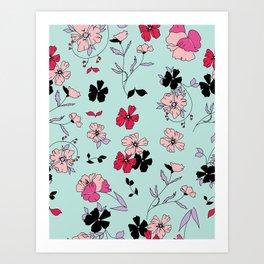 Black Floral Garden Vivid Art Print